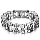JewelryWe Eslabones de la Cadena de la Pulsera de la joyería de los Hombres de Las Mujeres de Acero Pulsera de Plata Grande