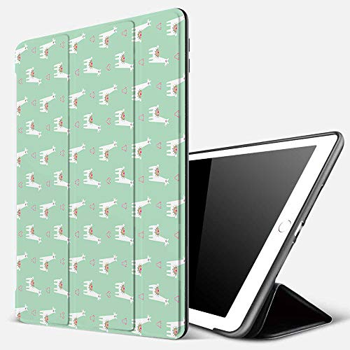 Case for iPad Air 10.2(2019/2018),Llama,Cute Llama with Candy Cane Hearts Fun Pattern on Mint Green Background,Mint Green M,Cover with Auto Sleep Wake Feature, Slim Lightweight Stand Protective Case