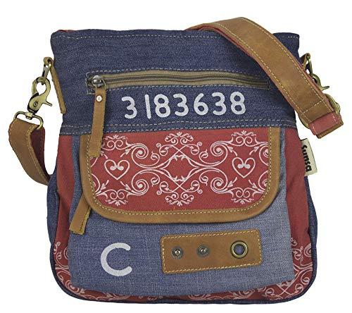 Sunsa Damen Tasche Umhängetasche Handtasche klein Canvas bag mit Jeans und Leder Vintage Design Teenager Taschen praktische Geschenke Bags for Women Schultertasche Damentaschen sale rot & jeans