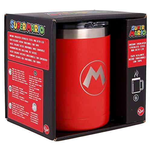 SUPER MARIO   Taza termica de Acero Inoxidable - 380 ml - Taza termo cafe para llevar   Termo Reutilizable para Bebidas Frías/ Con aislamiento al vacío de doble pared y tapa sin BPA