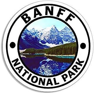 JR Studio 4x4 inch Round Banff National Park Sticker - Decal Canada Calgary Travel rv Cold Vinyl Decal Sticker Car Waterproof Car Decal Bumper Sticker