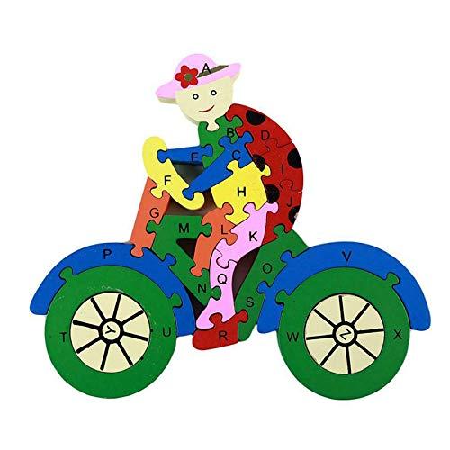 unknow Tigkley - Rompecabezas de madera para vehículos de desarrollo temprano juguetes de bicicleta número de letras de aprendizaje juegos educativos para niños