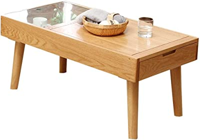 Table Japanese Coffee Solid Wood Coffee Storage Coffee with Drawers Household Oak Coffee Coffee (Color : Wood Color, Size : 100x50x45cm)