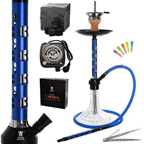 Kaya Elox Eco Pentagon - Juego completo de pipa de agua (aluminio, 1 conector, encendedor de carbón, 1 kg de carbón y accesorios), color azul