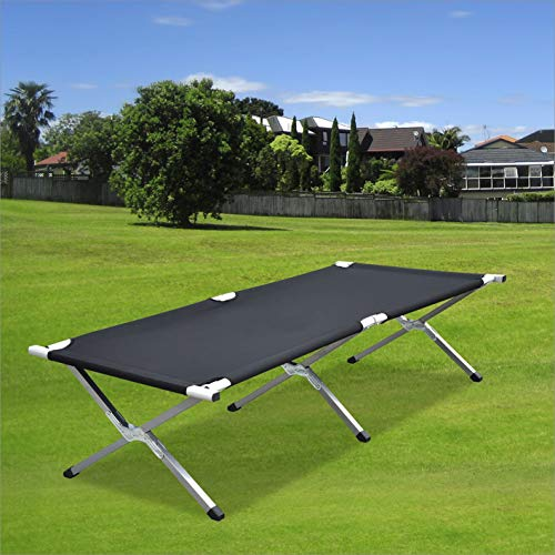 Purenity Folding Military Bed Portable Sport Camping COT, Black, Size No Size
