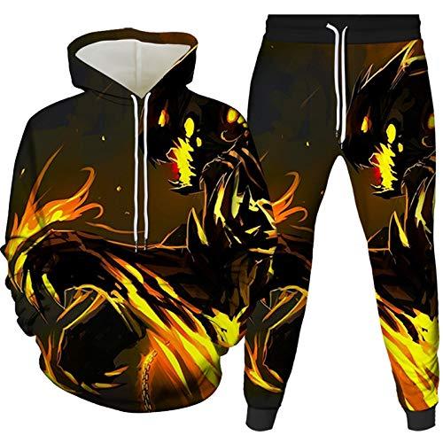 Herren 3D Gedruckt Sportswear Herren Winterjacke 2 Stücke Kapuzenhose Sportanzug Plus Size Lose Gr. XXX-Large, 801-900-99-yk2jt