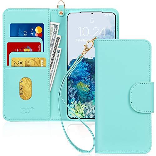 FYY Galaxy S20 Lederhülle 5G,Galaxy S20 5G flip case,Handy hülle mit Standfunktion und Kartenfach TPU Innenraum & [RFID-Schutz] Flip Tasche für Samsung Galaxy S20 5G 6.2-Mint Grün