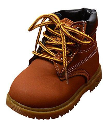 DADAWEN Boy's Girl's Waterproof Side Zipper Short Ankle Winter Snow Boots Brown US Size 5 M Toddler