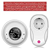 Temporizador Digital Programable, UPPEL Termostato Programable Inalámbrico Temporizador digital de temperatura adaptador Enchufe EU Programador eléctrico digital con pantalla LCD OPS200+OTS200
