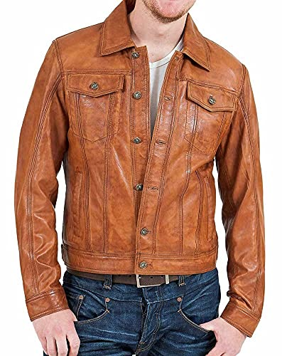 Cazadora de cuero marrón vintage de motorista para hombre   chaqueta vintage cafe racer, Chaqueta de piel auténtica, L