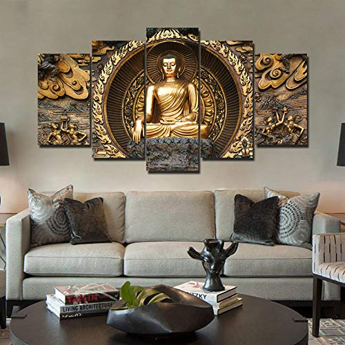 TWTQYC Hd Print 5 Piece Canvas Art Golden Abstract Buddha Painting Wall Pictures for Living Room Posters Home Decoration|40x60 40x80x2 40x100cm/No Frame