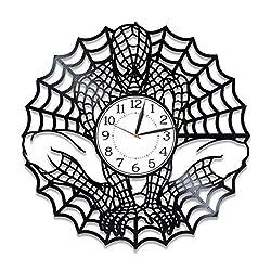 Kovides Marvel Comics Handmade Clock 12 Inch Spider-Man Wall Clock Idea for Boy Movie Original Home Decor Spider-Man Vinyl Record Wall Clock Superhero Film Birthday Gift for Man