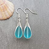 Handmade in Hawaii, wire braided blue sea glass earrings,