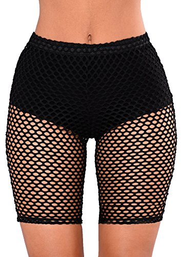 Nihsatin Women's Elastic Fishnet High Waisted Shorts See Through Clubwear Short Leggings