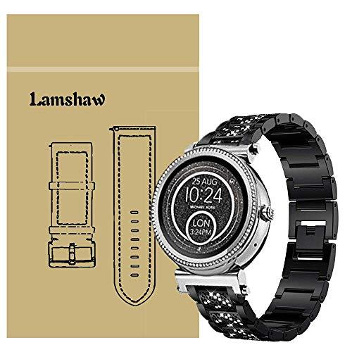Ceston Diamante de imitación Metalica Acero Moda Correas para Reloj Inteligente Michael Kors Sofie (18mm, Negro)