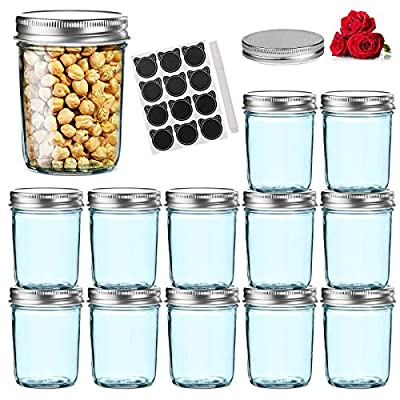 LovoIn 12 Pack 12 oz Wide Mouth Glass Jars with...