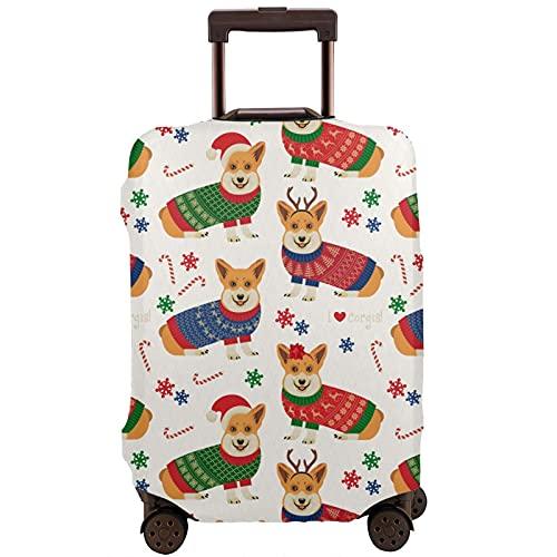 COSNUG Funda para equipaje (solamente) Corgi con patrón de sombrero de Navidad, funda protectora para equipaje de 18 a 32 pulgadas, multicolor, 80