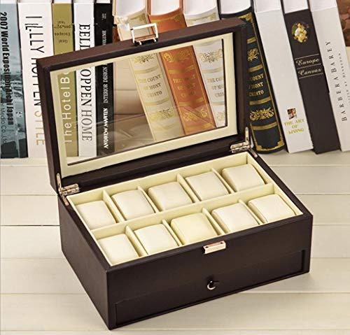 GYC Tragbare Home Office Uhrenbox 10 Herren PU Leder Display Glasplatte Schmucketui Organizer Schmuckschatulle Uhrenständer, 3