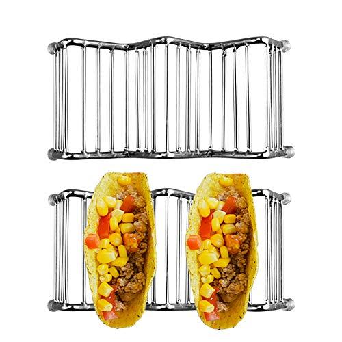 Roponan Soporte Tacos, 2 Piezas Porta Tacos de Acero Inoxidable, Bandeja para Tacos para Restaurante, Hogar, Picnic, Fiesta