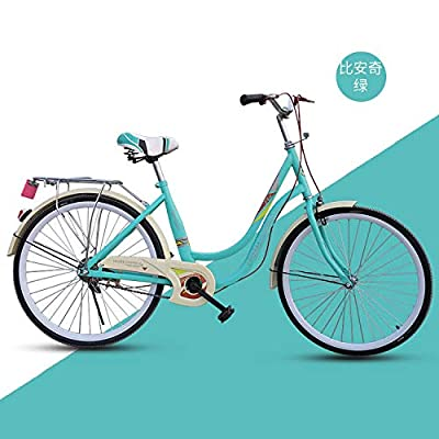 "US Spot 26"" Women's Bikes Single-Speed Beach Cruiser Bicycle,Complete Cruiser Bikes Unisex Classic Iron Bicycle Unique Art Deco Scooter,Road Bike,Seaside Travel Bicycle,Single Speed for Recreation"