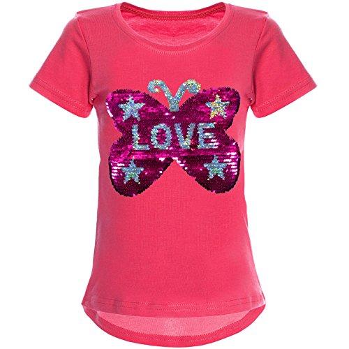 BEZLIT Mädchen Wende-Pailletten T-Shirt Tollem Schmetterling Motiv 22032 Pink Größe 164