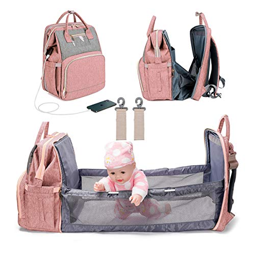 3 in 1 Diaper Bag Backpack Foldable Baby Bed Waterproof Travel Bag with USB Charge Baby Changing Bag
