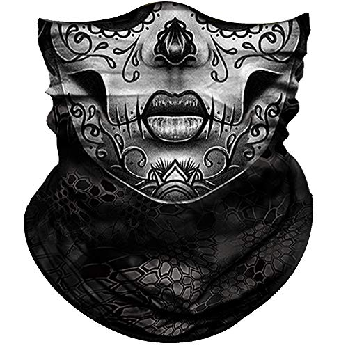 Obacle Skull Face Mask for Women Dust Wind UV Sun Protection Seamless Bandana Face Mask for Rave Festival Motorcycle Riding Biker Fishing Hunting Outdoor Running 3D Tube Mask (Gray Flower Face Mask)