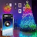 EUNEWR Bluetooth Leds Cadena de Luces 2/5/10/15/20m, Luces LED Luz de Cortina USB 20/50/100/150/200 Leds, Música Luz de hadas Enchufe Cobre, Interior RGB Luces Exterior para Habitación/Navidad