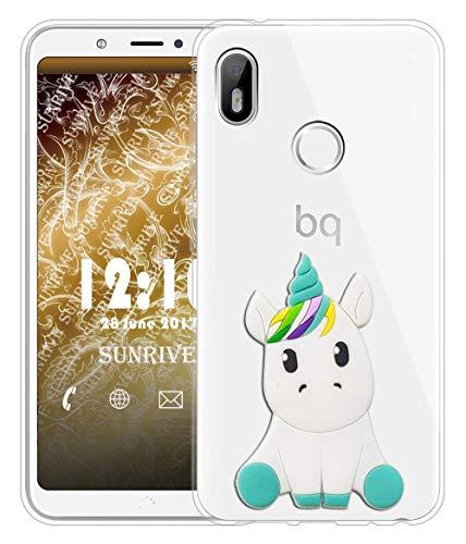 Sunrive Für BQ Aquaris C Hülle Silikon, Transparent Handyhülle Schutzhülle Etui 3D Hülle für BQ Aquaris C(W1 Einhorn 1)+Gratis Universal Eingabestift MEHRWEG