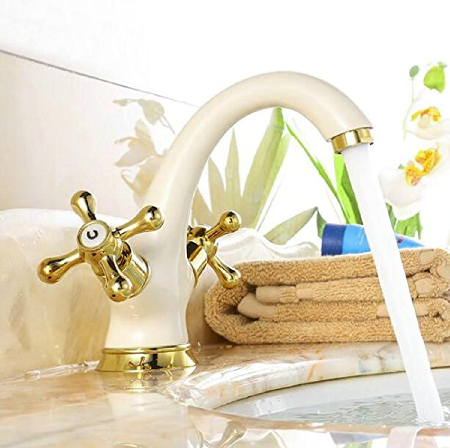Retro Deluxe FaucetingFree Shipping golden And White color Finish Dual Handle Bathroom Faucet Bathroom Basin Mixer Tap With Hot And Cold Water 6058,Brass