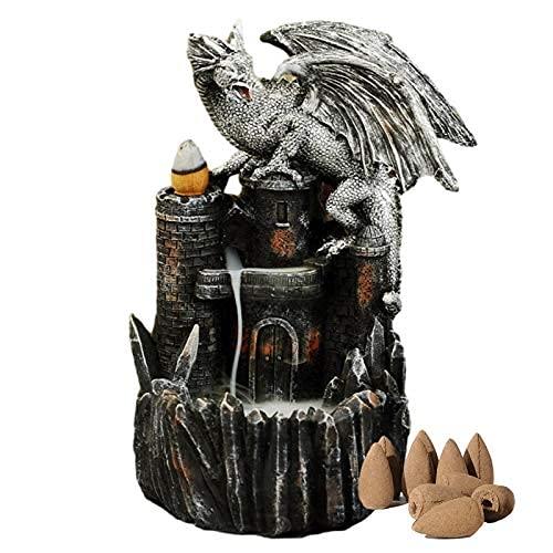 BANNAB Soporte de incensario de reflujo Cascada, Soporte de Varilla de Incienso, Quemador de Incienso de reflujo de dragón Retro, decoración del hogar, artesanía de Resina