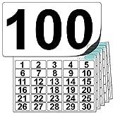 Premium-Zahlenaufkleber aus Plastik – 1 bis 100 (+ 20 weiße Ersatzaufkleber) Äußerst widerstandsfähiges Material. Für die Anwendung im Freien geeignet. 100 % wasserfest.