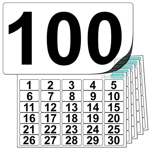 Adesivi in plastica alta qualità numeri da 1 a 100 (+ 20 pezzi vuoti di scorta). Stock etichette ultra resistenti. Utilizzabili all'aperto. 100% resistenti all'acqua.