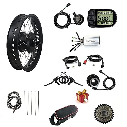 36V 500W Electric Bicycle Conversion Kit, Snow Bike/Fat Tire with LCD5 Display, 20 inch Motor Wheel, Suitable for 20x4.0 Tires, Rear Rotate Hub Motor,7-Speed flywheel and Controller Bag.