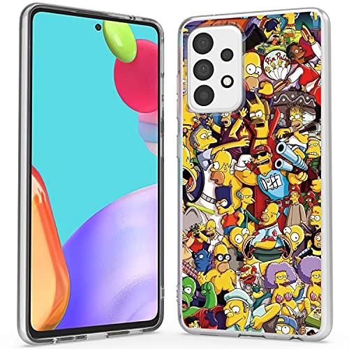 WZOKA for Samsung Galaxy A52 5g Case, Slim Soft Phone Case for Galaxy A52, Beautiful Classic Basic Samsung A52 Phone Case for Men Women (Simpsons Yellow)