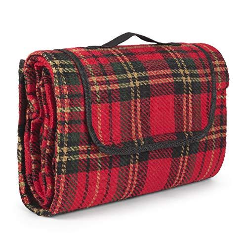 Montse Interiors - Karierte Picknickdecke, 130x150 cm | wasserdichte Picknickdecke | Perfekt für den See oder Park - Motiv: rot kariert