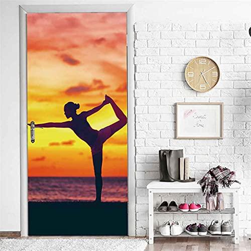 CUUDBP 3D Etiqueta De La Puerta Mural Puerta Fondo Yoga Al Atardecer Junto Al Mar Pvc Poster Art Moderno Hogar Decoración Autoadhesivo Impermeable Puerta Pegatina Para Dormitorio Sala De Baño 95X215Cm