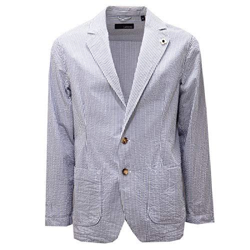 Lardini 6323AD Giacca Uomo Light Blue/White Stripes Cotton Jacket Men [M]