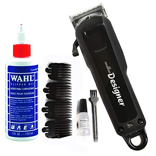 Wahl Professional Cordless Designer Clipper #8591 - 90 Minute Run Time - Accessories Included (With Clipper Oil)