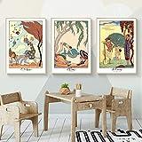 WKHRD Ilustraciones de Barbier Descargar Elementos Arte de Pared Carteles e Impresiones Cuadro Decorativo Decoración Moderna del hogar   40x60cmx3Pcs (Sin Marco)