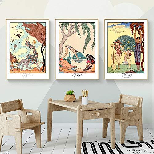 WKHRD Ilustraciones de Barbier Descargar Elementos Arte de Pared Carteles e Impresiones Cuadro Decorativo Decoración Moderna del hogar | 40x60cmx3Pcs (Sin Marco)