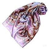 Lorenzo Cana Luxus Damen Seidentuch aufwändig bedruckt Tuch 100% Seide 90 cm x 90 cm harmonische rosa violett Farben Damentuch Schaltuch 89080