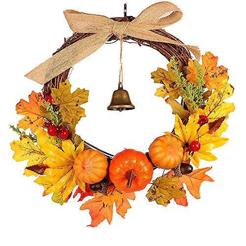 Homo Trends - Ghirlanda di Halloween per porta, in autunno, con foglie d'acero, corona di zucca, decorazione per la porta del Ringraziamento