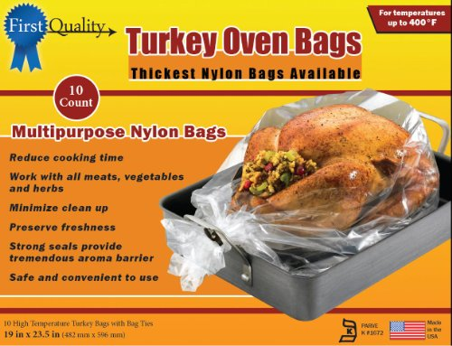 First Quality 19-Inch by 23-1/2-Inch Turkey Oven Bags 10 bags and Ties Per Box