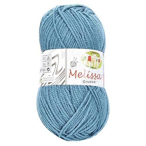 Melissa Hilo 100% Acrilico Ovillo de Lana (115m 100g * 1=50g * 2) Premium para DIY Tejer y Ganchillo, Certificado OEKO-TEX Standard 100,Agujas Talla 5(1/2)-6(1/2),Azul 101,Enviado desde Europa