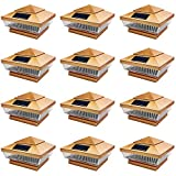 iGlow 12 Pack Copper Outdoor 4 x 4 Solar 5-LED Post Deck Cap Square Fence Light...