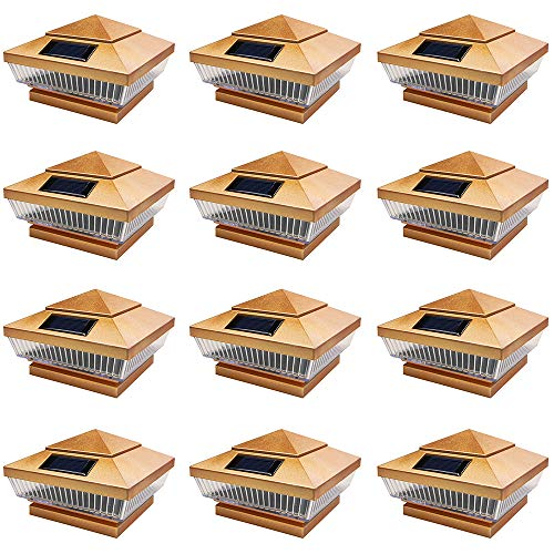 iGlow 12 Pack Copper Outdoor 4 x 4 Solar 5-LED Post Deck Cap Square Fence Light Landscape Lamp PVC Vinyl Wood Bronze