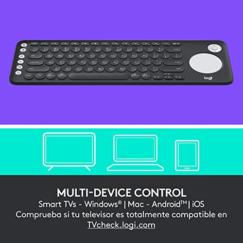 Logitech K600 Tastiera TV Wireless con Touchpad e D-Pad per Smart TV e PC Home Theater, Tasti ‎Multimediali, Multi-Dispositivo, TV Samsung, LG e Sony/Windows/Mac/Android, Layout Spagnolo ‎QWERTY, Nero
