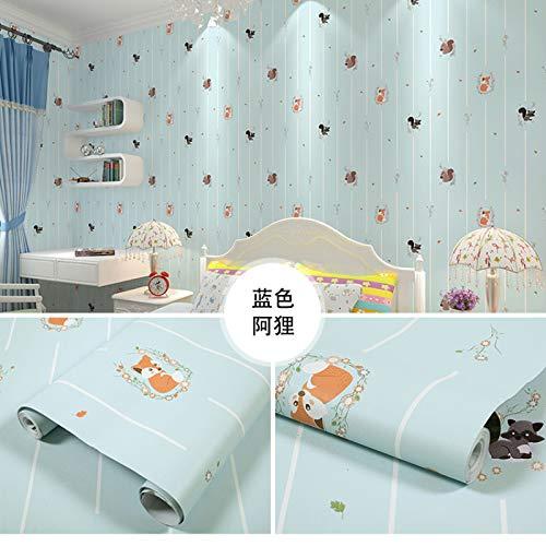 LZYMLG Pvc Self-Adhesive Wallpaper Bedroom Living Room Children'S Room Cabinet Decoration Sticker Waterproof Dormitory Background Wall Sticker Light Blue Ari 60CMX10M