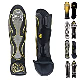 Top King Shin Guard Protector Empower Creativity Superstar Color Black White Size S M L XL for Protection in Muay Thai, Boxing, Kickboxing, MMA (Empower Black,M)
